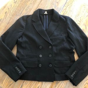 J CREW black 100% wool double breasted jacket/Nice